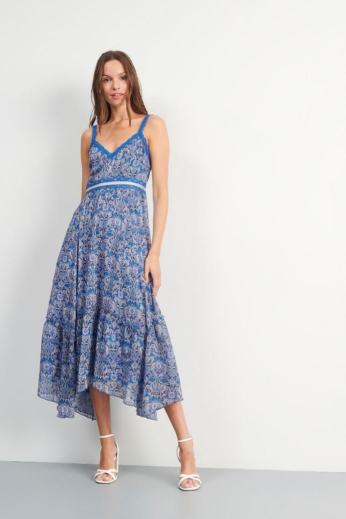 φόρεμα εμπριμέ με τιράντες και λεπτομέρεια δαντέλας