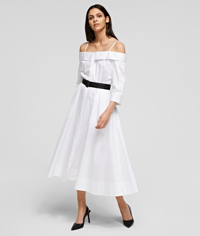 off-the-shoulder λευκό φόρεμα από ποπλίνα