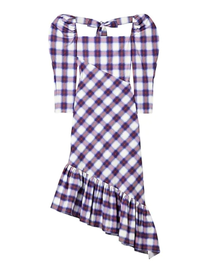 Ασύμμετρο φόρεμα με φουσκωτά μανίκια