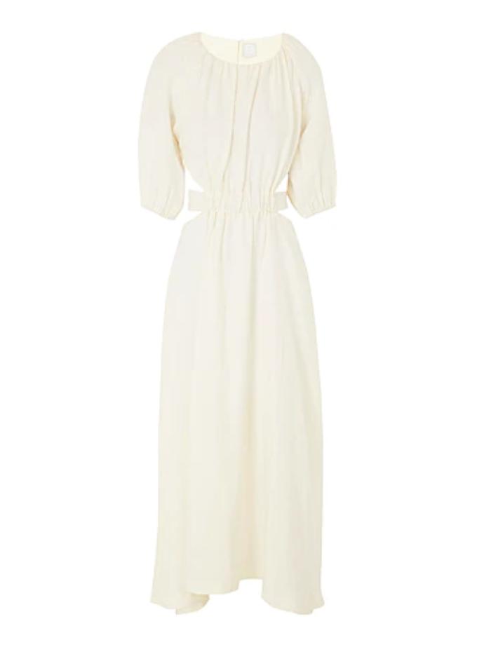 μάξι λευκό φόρεμα με cut outs