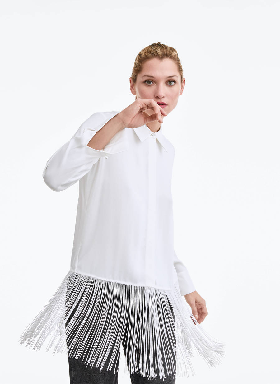 Λευκό πουκάμισο με κρόσσια