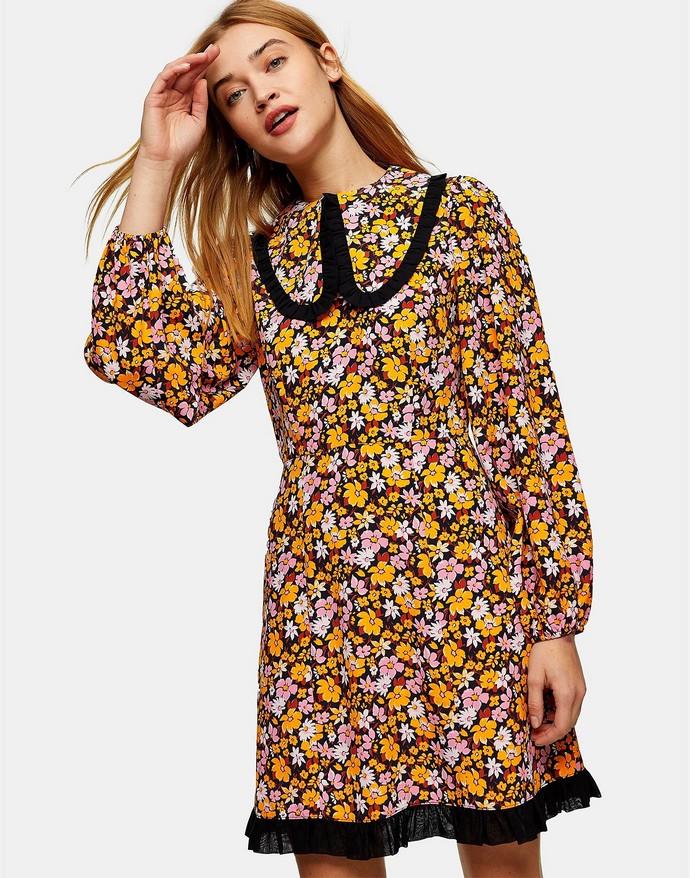 mini floral φόρεμα με γιακά