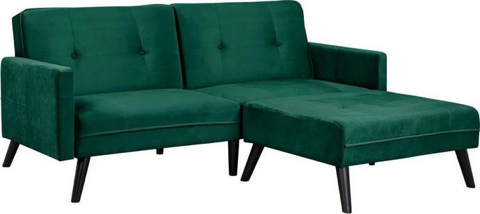 Καναπές Γωνία Κρεβάτι Livia Dark Green Με Υποπόδιο 211x158x8 εκ.