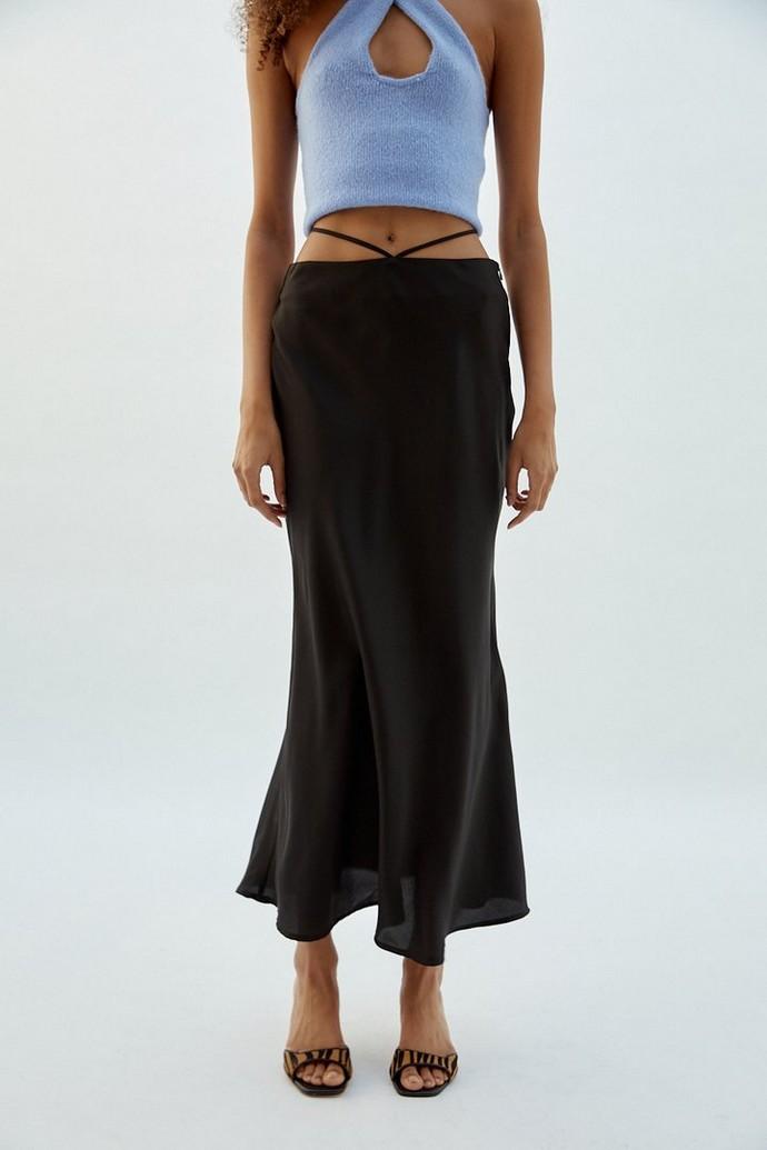 midi σατέν φούστα με straps