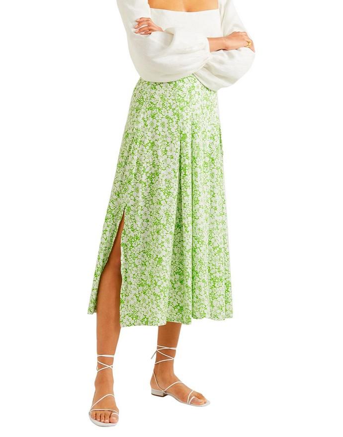 floral midi φούστα με σκίσιμο