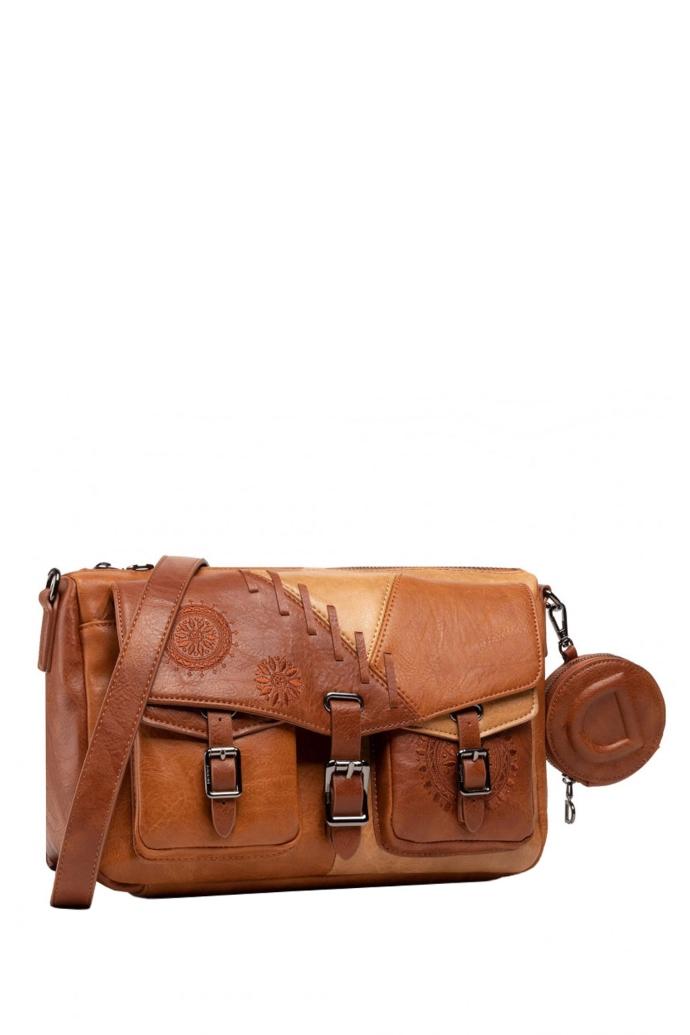 Τσάντα crossbody με patchwork από συνθετικό δέρμα & mandala κέντημα.