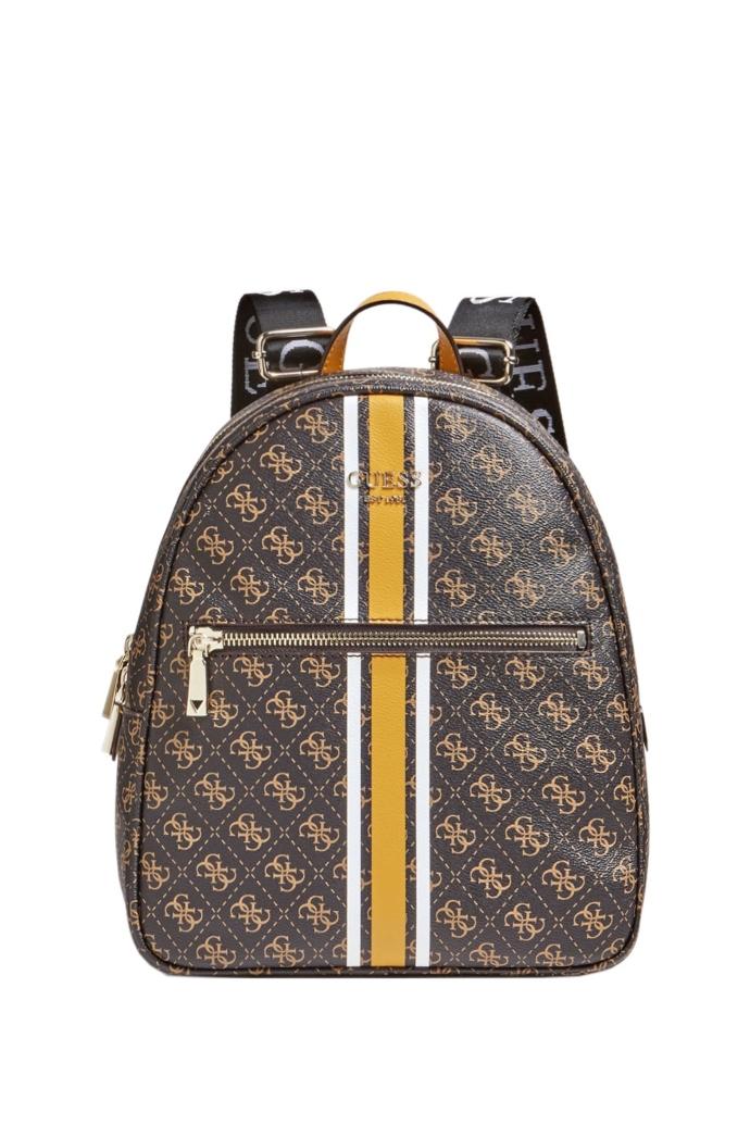 Τσάντα backpack από συνθετικό καμβά με logo print.