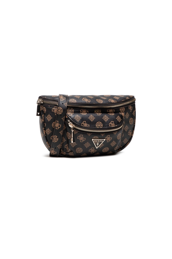 Τσάντα μέση από συνθετικό δέρμα με στάμπα logo.