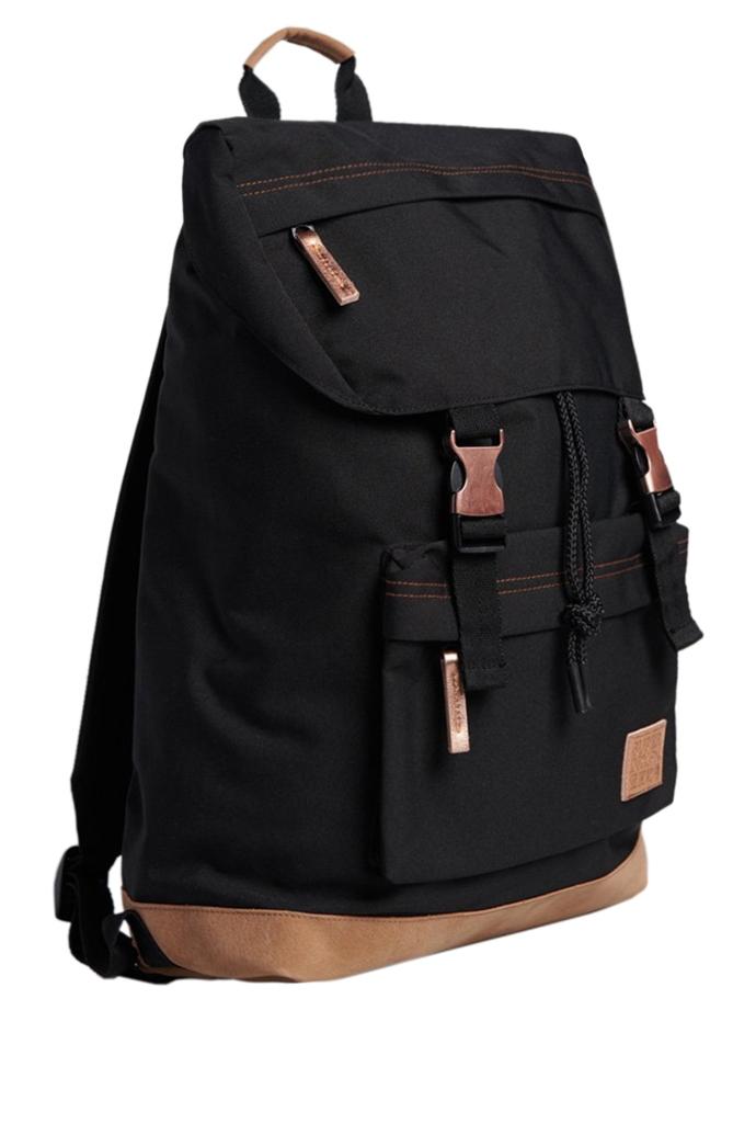 Τσάντα backpack από συνθετικό καμβά με suede λεπτομέρειες.