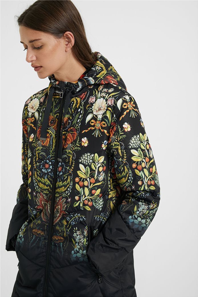 Mπουφάν με κουκούλα και με floral print