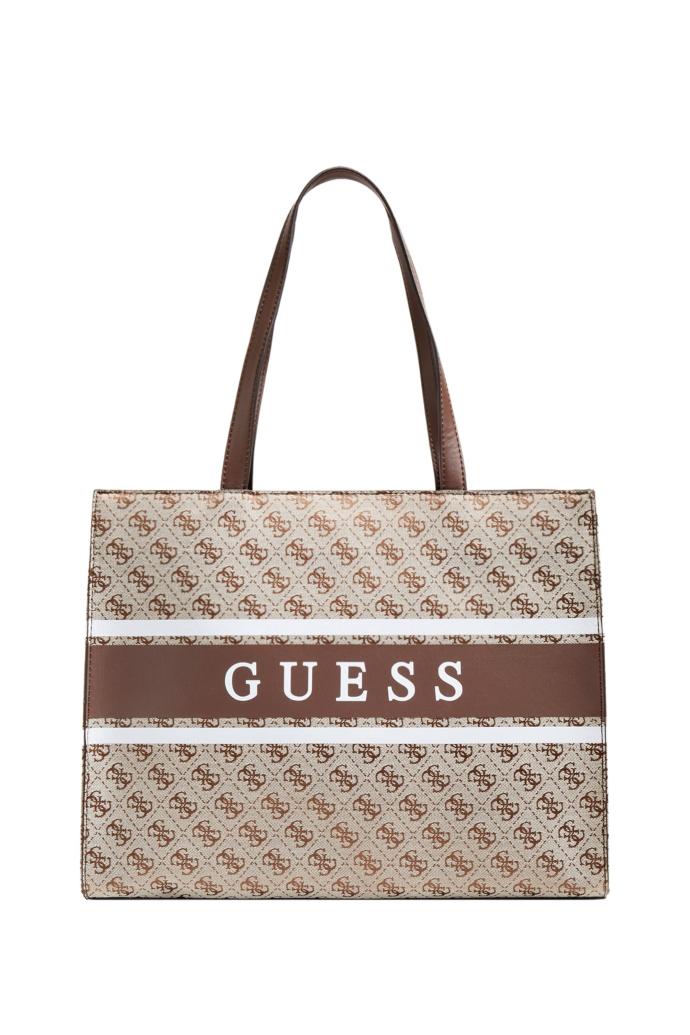 Τσάντα shopper από βαμβακερό καμβά με logo print.
