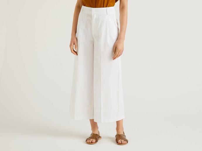 Παντελόνι μακρύ από δροσερό ανάμεικτο βαμβακερό και πιέτες