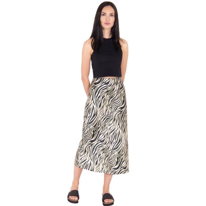 midi slip φούστα με zebra print