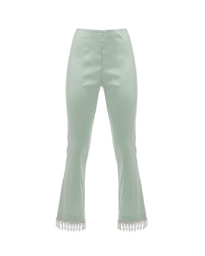 cropped παντελόνι με κρυστάλλους