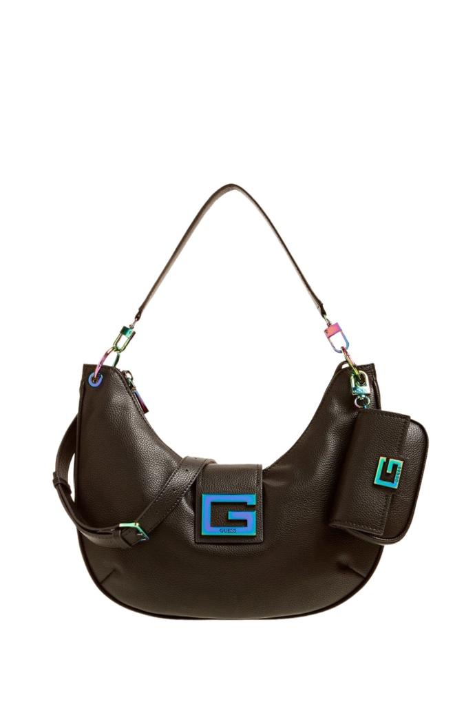 Τσάντα ώμου από συνθετικό δέρμα με logo