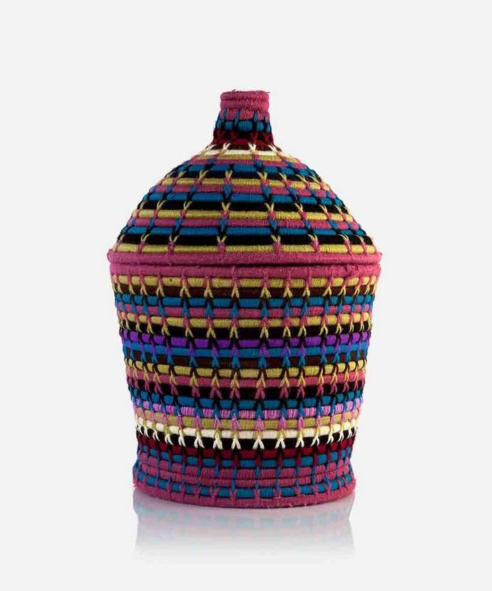 Χειροποίητο μαροκινό καλάθι με καπάκι