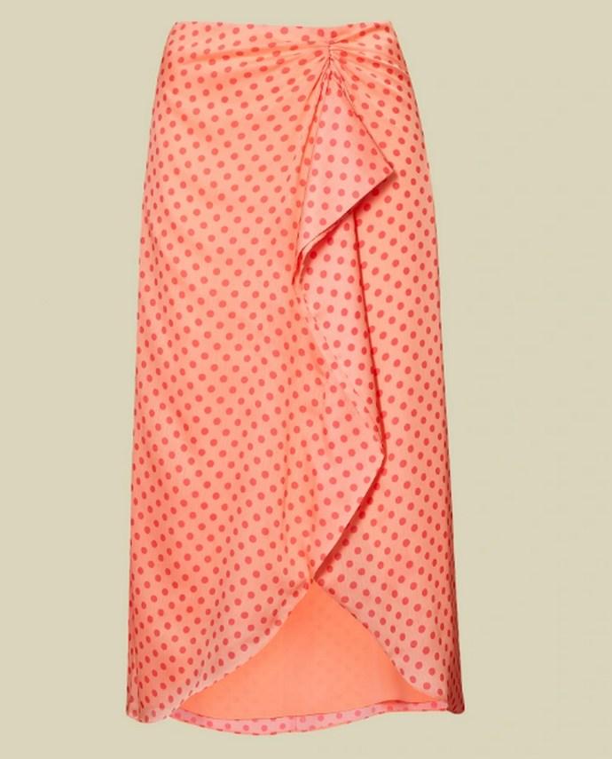 Φούστα με πουά pattern σε κοραλί απόχρωση