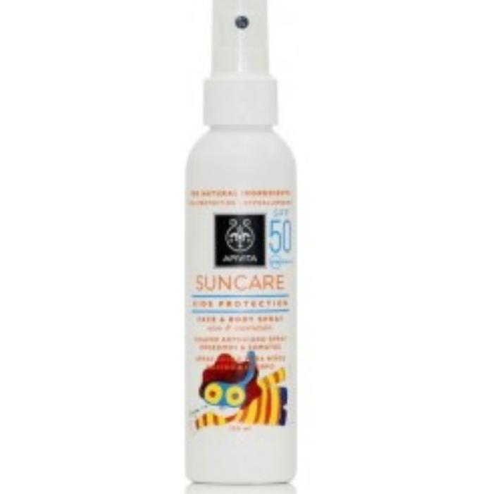 Apivita Suncare Kids Protection SPF50 Παιδικό Αντηλιακό Spray Για Πρόσωπο - Σώμα Με Aloe Calendula 150ml