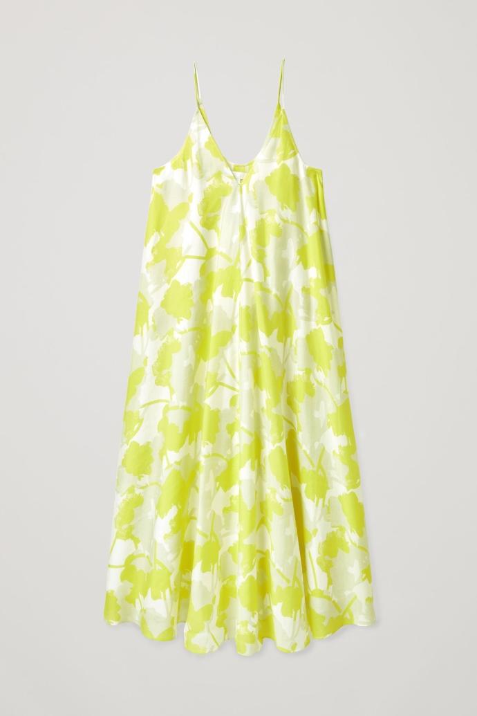 v-neck slip dress με μοτίβο