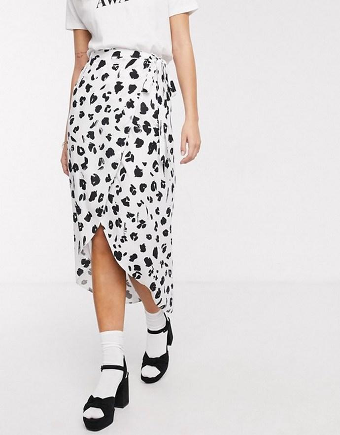 Wrap φούστα με λεοπάρ ασπρόμαυρο print
