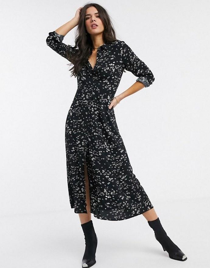 Shirt dress μαύρο με daisy φλοράλ μοτίβο και μακρυμάνικο