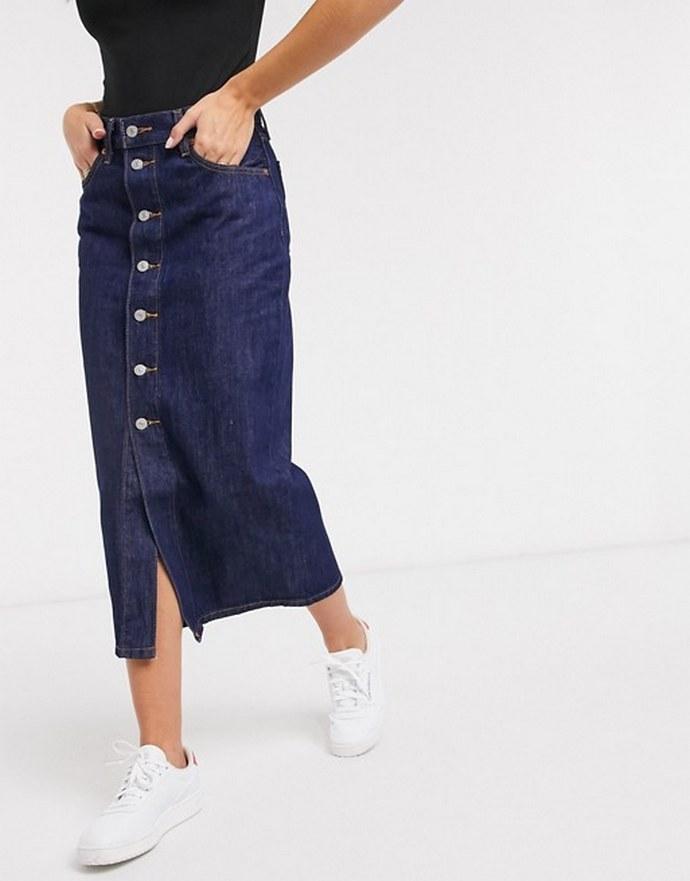 Φούστα σε σκούρο μπλε με κλείσιμο με κουμπιά μπροστά