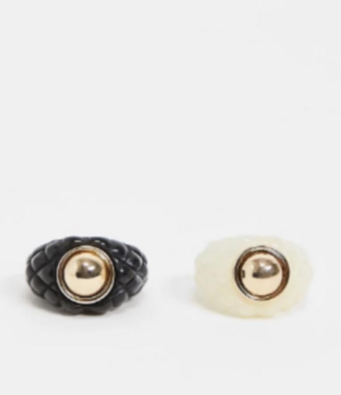 δαχτυλίδια με διακοσμητικά studs (σετ των 2)