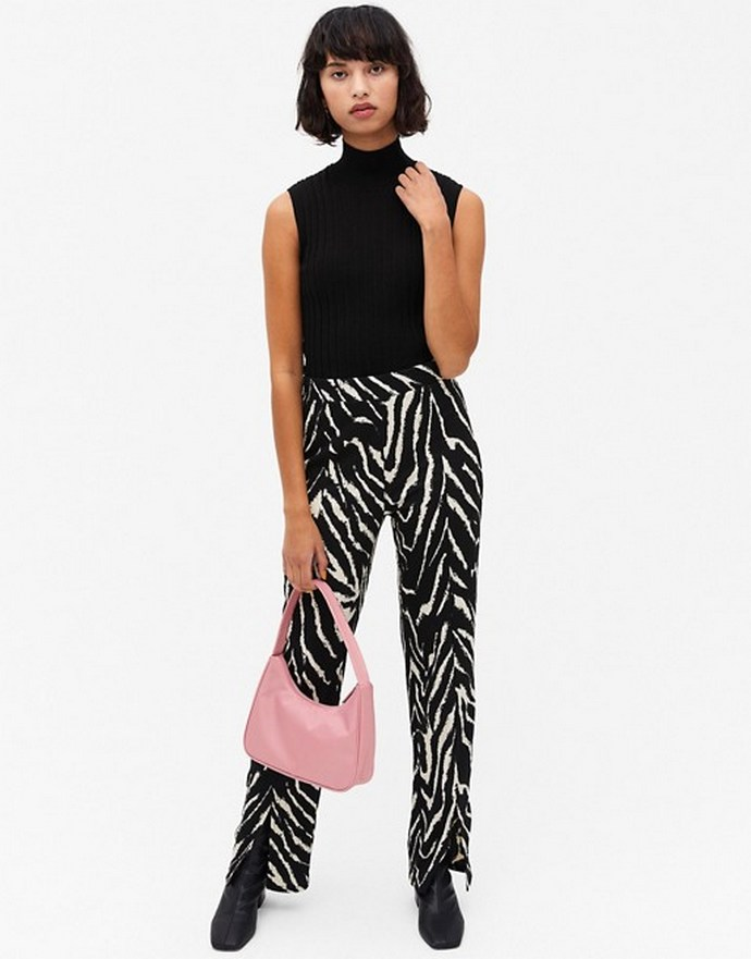 Παντελόνι με ελαστική μέση σε ίσια γραμμή και zebra print