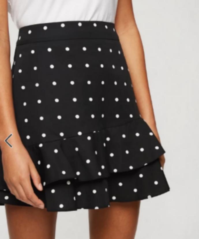 mini πουά φούστα με βολάν