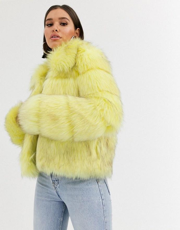 Missguided crop faux fur jacket