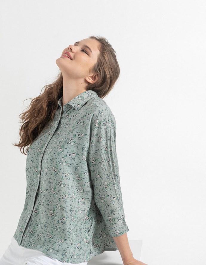 Φλοράλ loose πουκάμισο στο χρώμα της μέντας