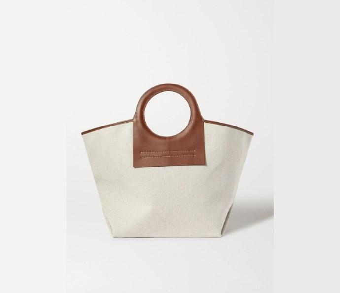 Τσάντα από καμβά με δερμάτινες λεπτομέρειες