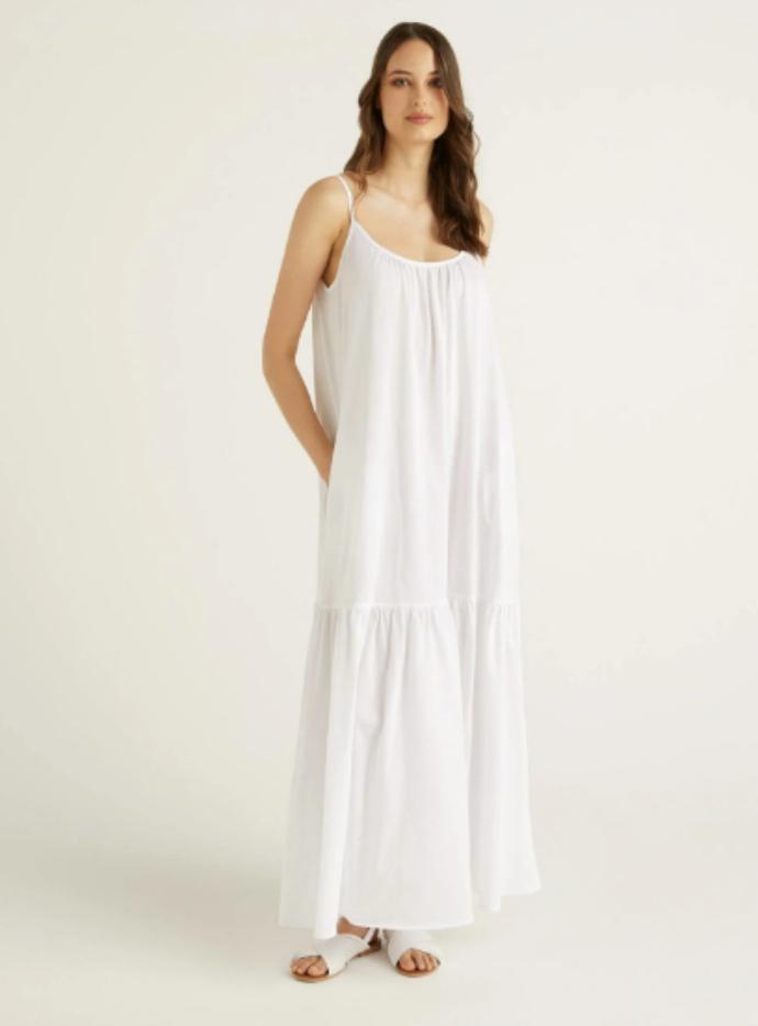 μάξι βαμβακερό φόρεμα με τιράντες