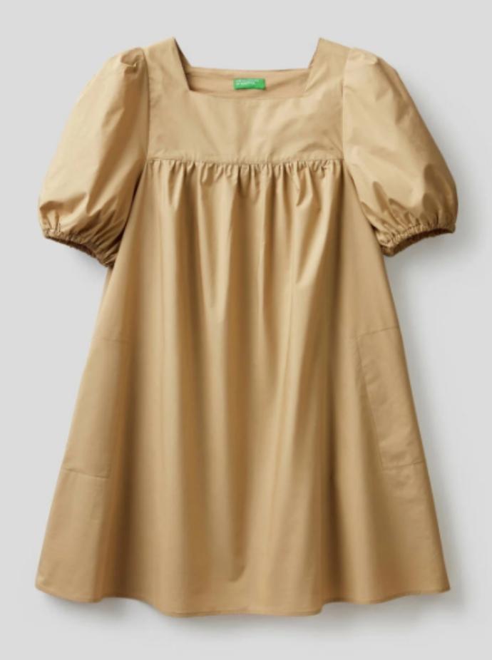 μίνι βαμβακερό φόρεμα με φουσκωτά μανίκια