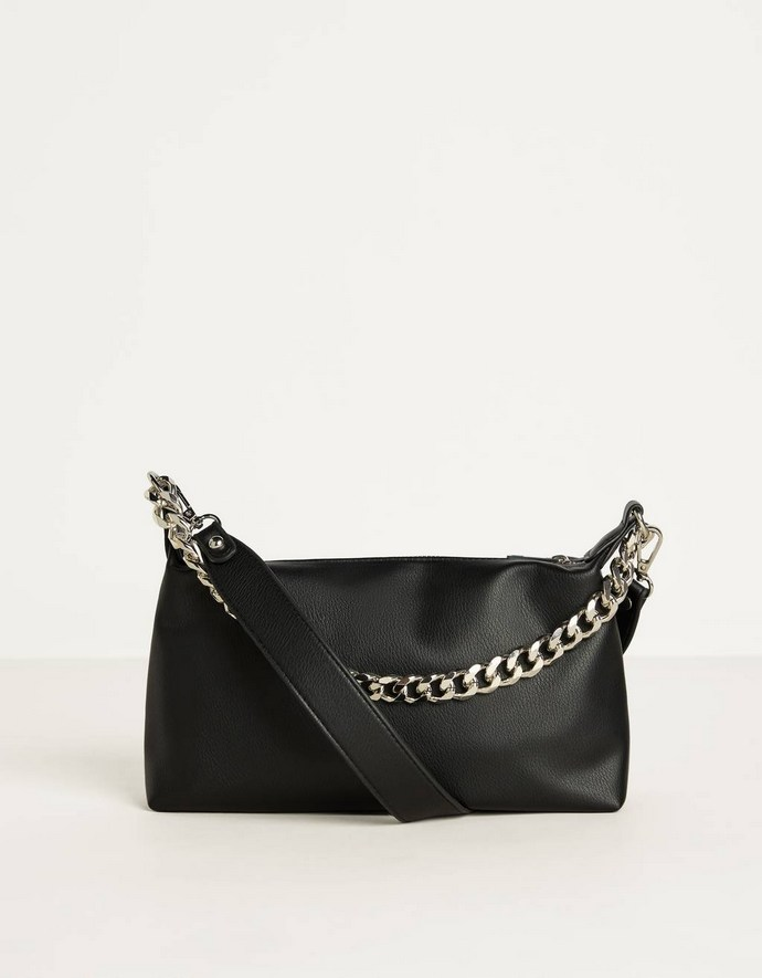 Crossbody τσάντα με αλυσίδα σε μαύρο