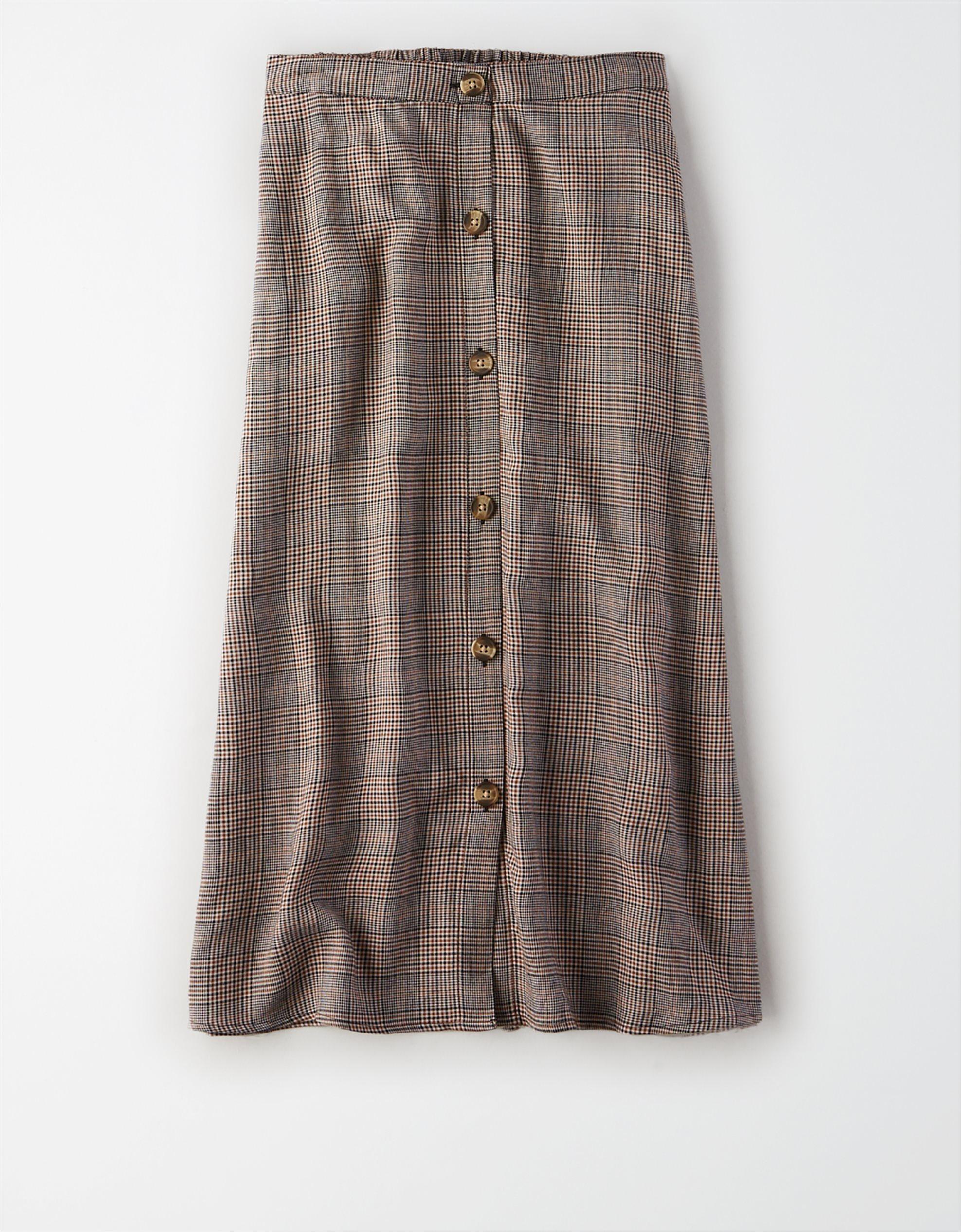 Καρό μίντι φούστα με κουμπιά