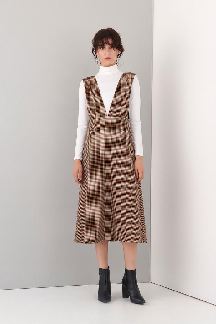Καρό μίντι φόρεμα