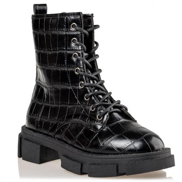 Chunky boots με κροκό εφέ