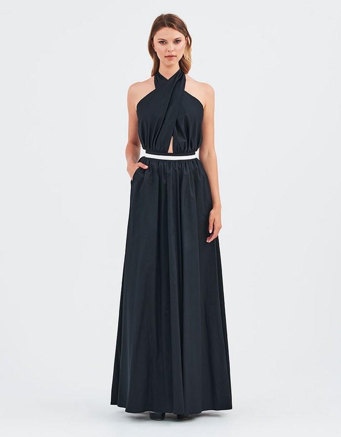 Μάξι halter neck φόρεμα