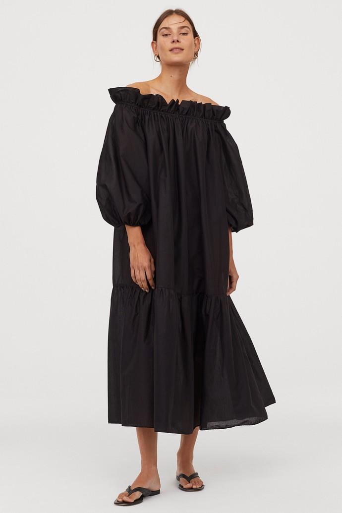 Μάξι φόρεμα με φουσκωτά μανίκια