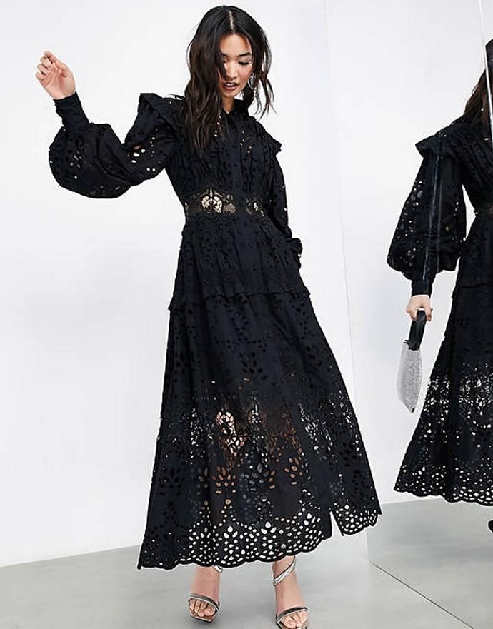 Broderie anglaise μάξι φόρεμα