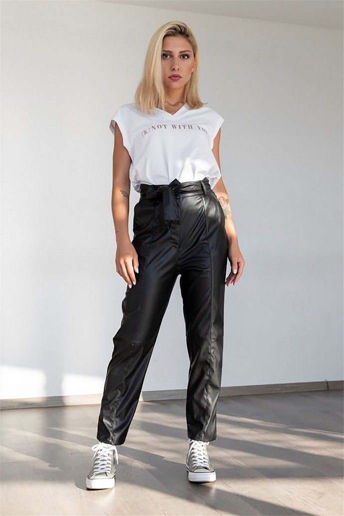μαύρα δερμάτινα παντελόνια