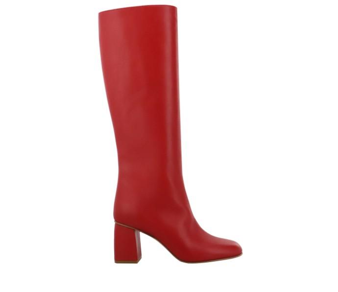 Δερμάτινες μπότες με block heel