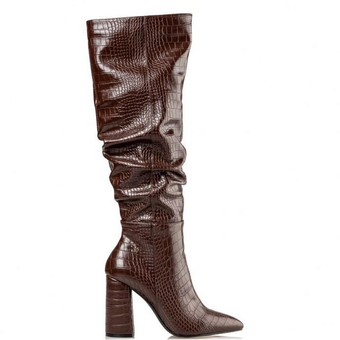 Kροκό boots από συνθετικό δέρμα