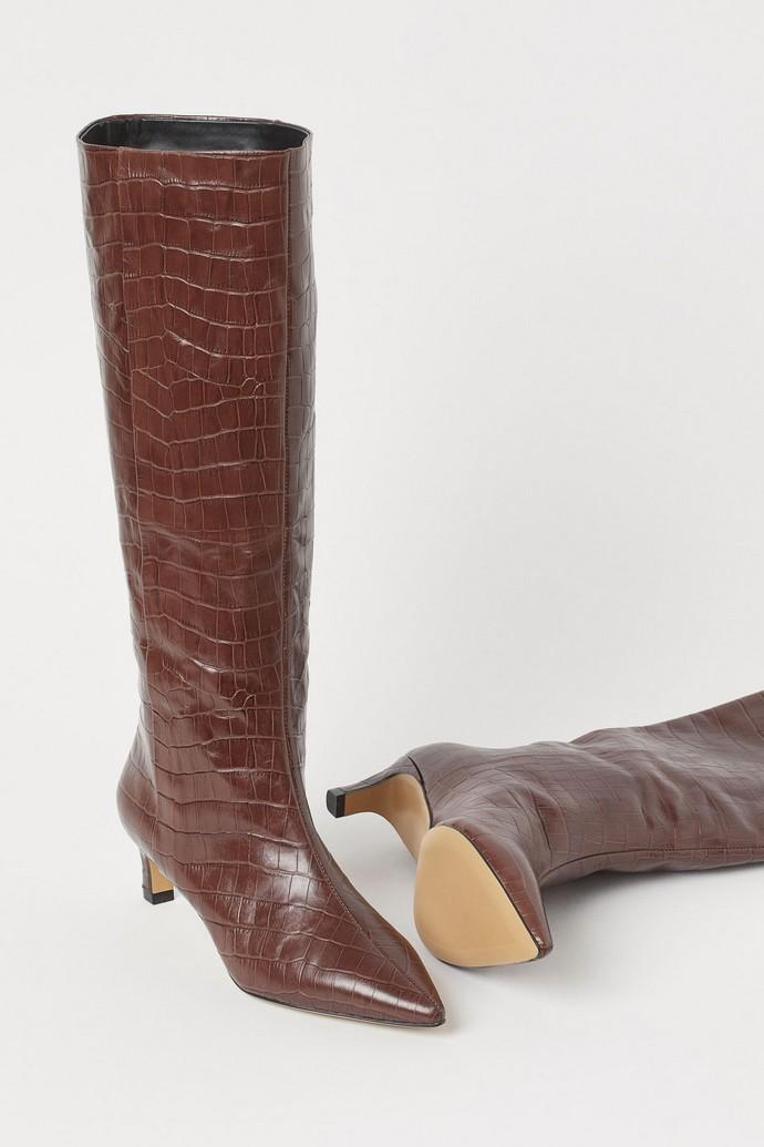 Ψηλές μπότες με κροκό εφέ