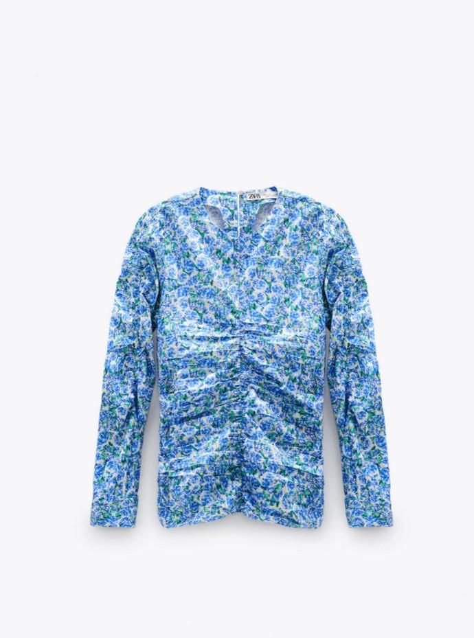 Printed μπλούζα με σούρες