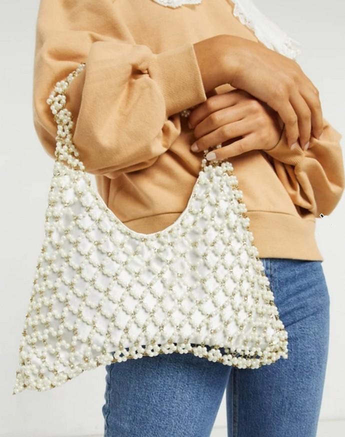 Τσάντα με πέρλες και στρας
