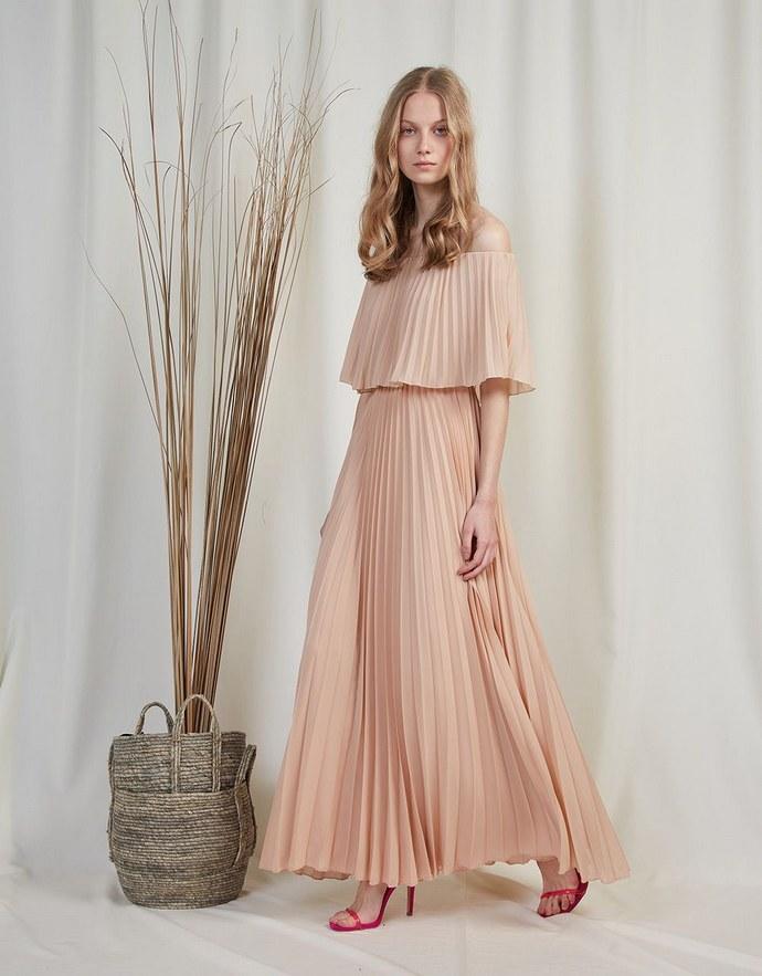 Off-the-shoulder φόρεμα με εφέ κάπας