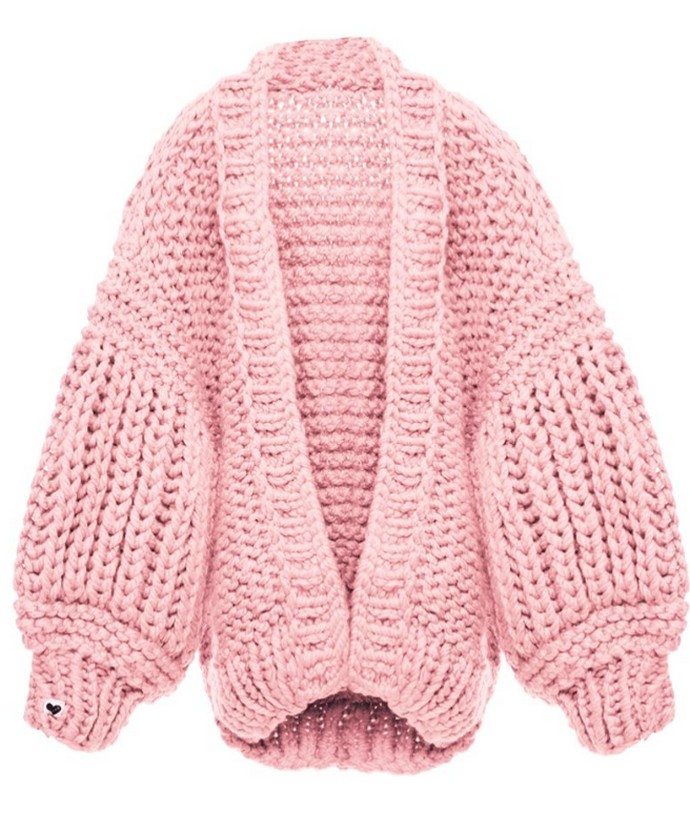 Cable knit ζακέτα με ογκώδη μανίκια