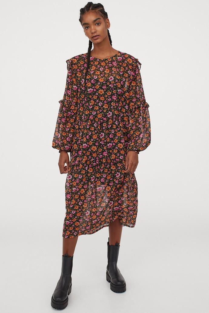 Φλοράλ μίντι φόρεμα με βολάν